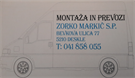 MONTAŽA IN PREVOZI ZORKO MARKIČ s.p.